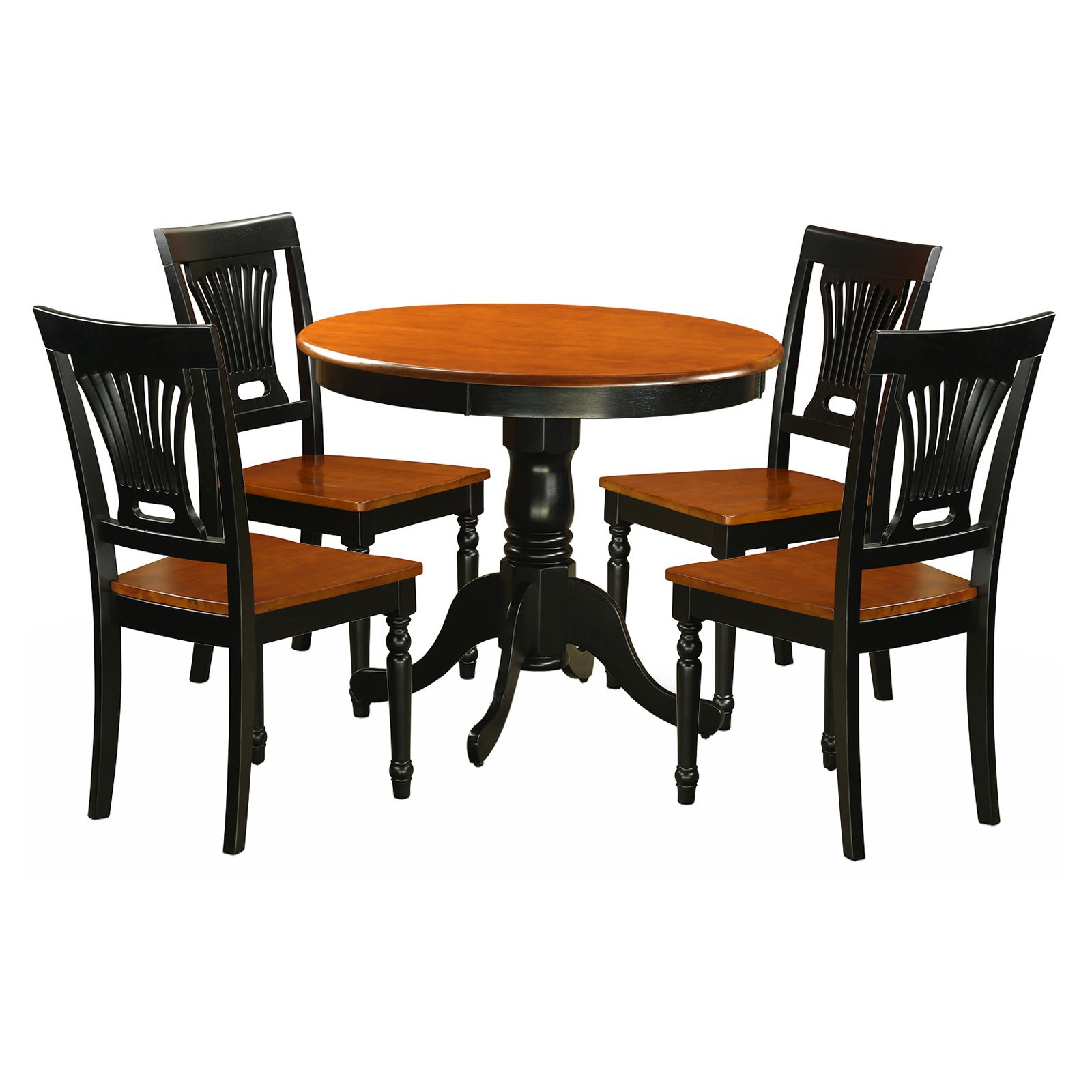East West Furniture Antique 5 Piece Pedestal Round Dining Table Set with Plainville Wooden Seat Chairs