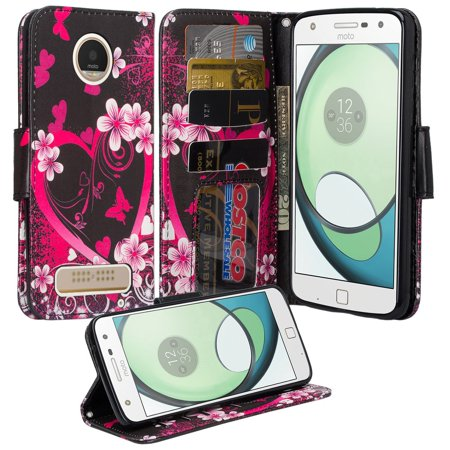 Moto Z Droid Case - Wydan Wallet Leather Credit Card Flip Book Style Folio Kicktand Feature Cover w/ Wrist Strap Heart Flower - Black Pink - Leather Boot Covers