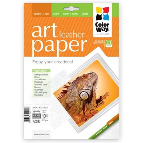 Colorway PGA230010LLT Art Glossy Photo Paper Texture Leather, 8. 5 x 11 inch - 10 Sheets