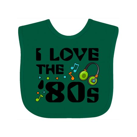 Inktastic I Love the '80s-musical notes Baby Bib Unisex, Green