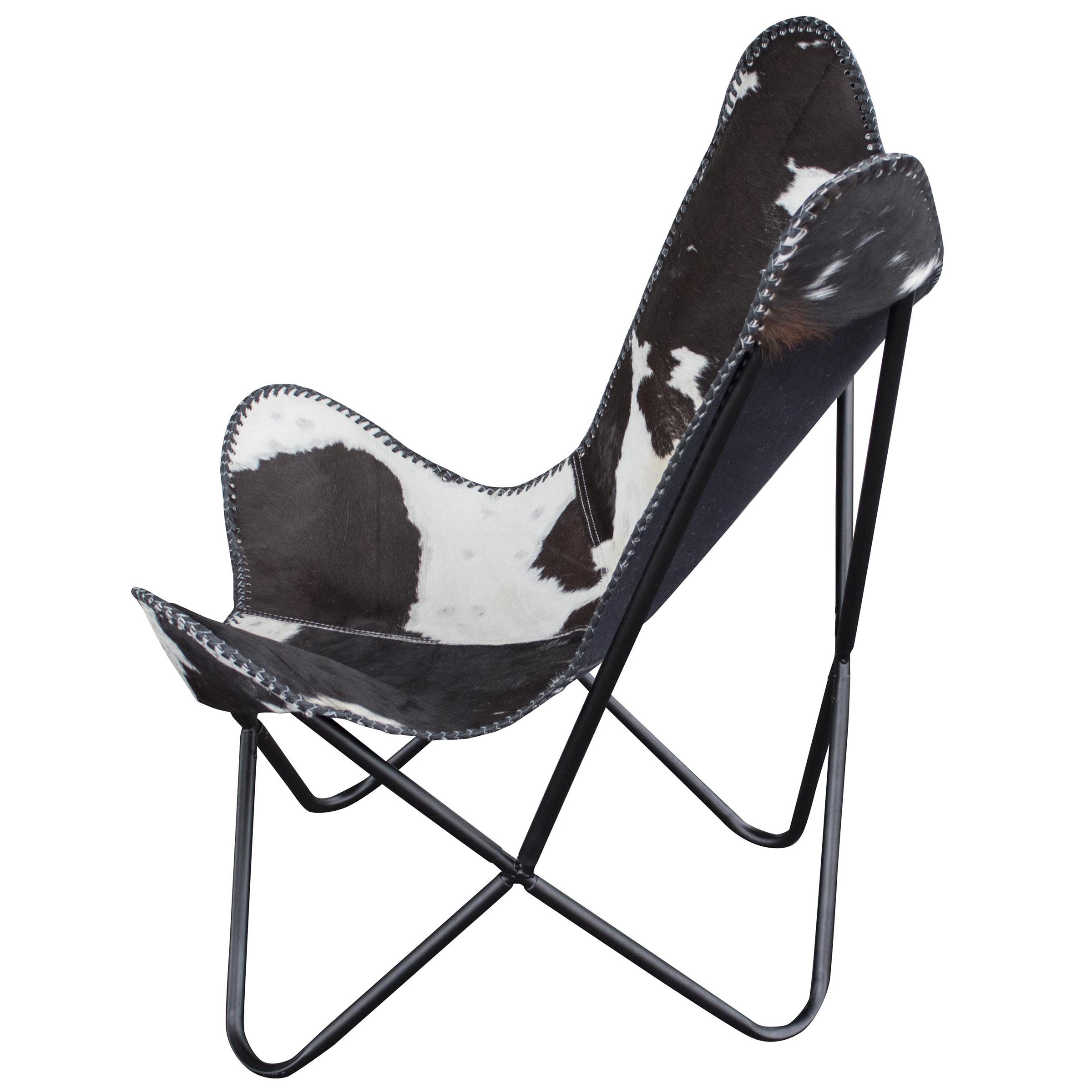 Charmant Amerihome Leather Butterfly Chair In Natural Hide Image 2 Of 4