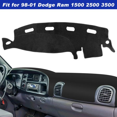 TSV Dashboard Cover for Dodge Ram 1500 2500 3500 1998-2001 Black Carpet Dash Cover Mat, Custom Fit Dashboard Protector, Easy Installation, Reduces Glare, Eliminates Cracking