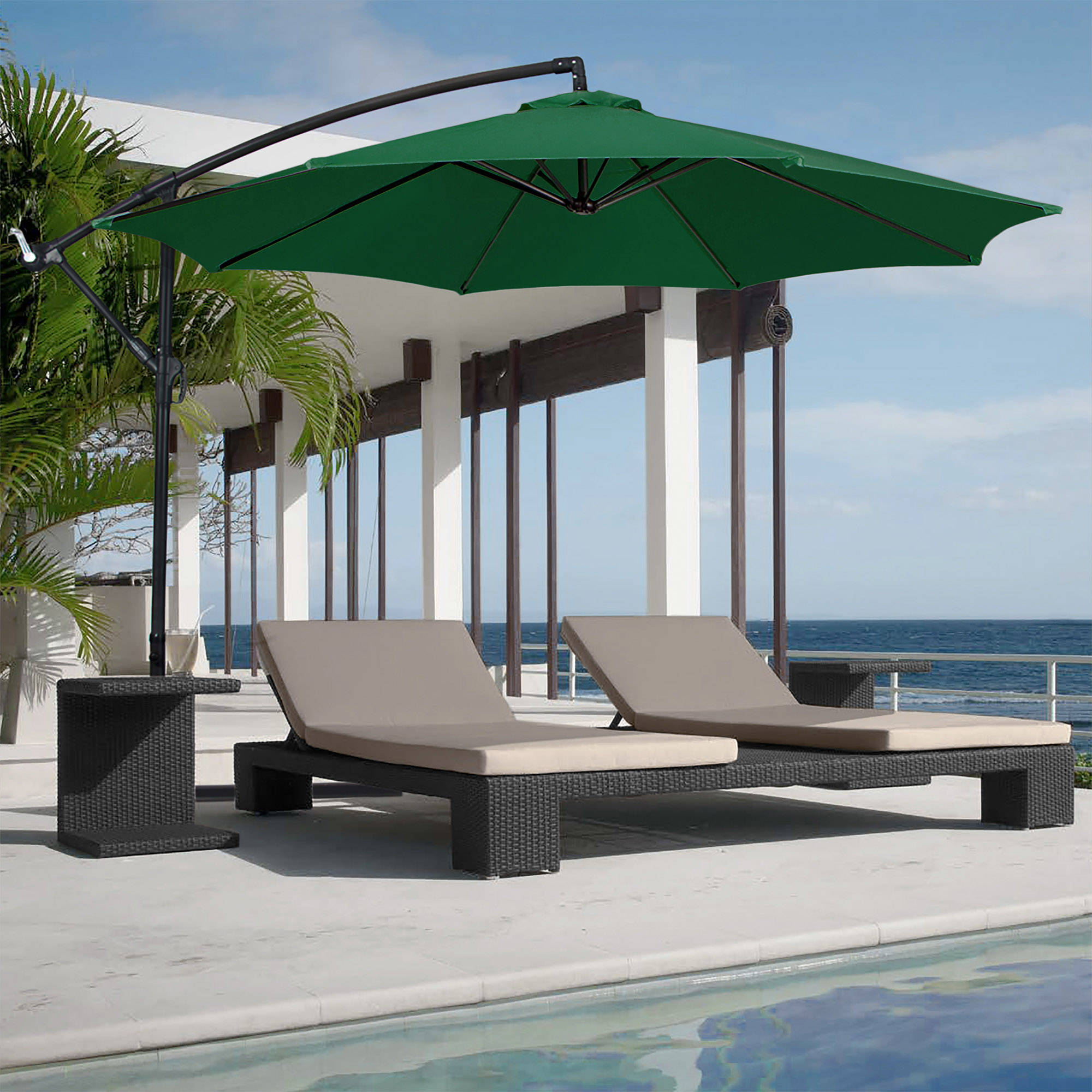 Best Choice Products 10ft Offset Hanging Outdoor Market Patio Umbrella    Multiple Colors   Walmart.com