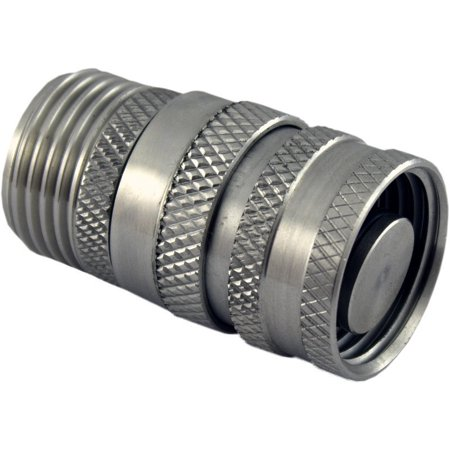 Quick Disconnect Garden Hose Fitting with stop 304 Stainless Steel Male x Female GHT (Stainless Hose Fittings)