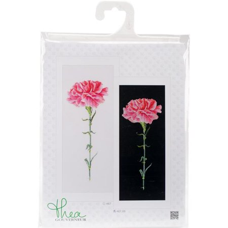 Carnation Cross - Carnation Pink On Aida Counted Cross Stitch Kit - 6.5 x 16.5 in., 18 Count