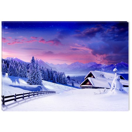 Startonight Canvas Wall Art Winter Cottage USA Design for Home Decor, Illuminated Landscapes Painting Modern Canvas Artwork Framed Ready to Hang Medium 23.62 X 35.43 inch ()