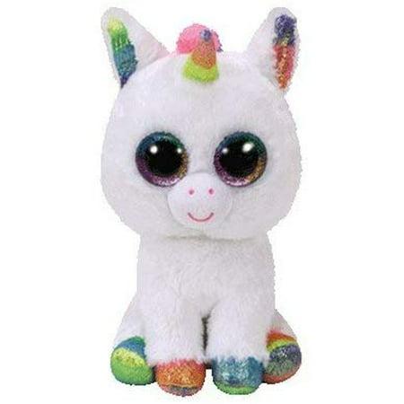 White Plush Horse (TY Beanie Boo Plush - PIXY the Unicorn - Regular Size - 6)