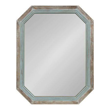 Kate and Laurel Palmer Large Rustic Farmhouse Wooden Octagon Wall Mirror, Distressed Two-Tone Coastal Blue and Natural, 36x28