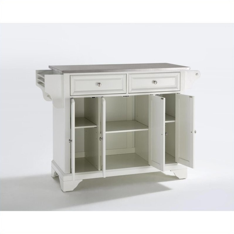 Kingfisher Lane Stainless Steel Top Kitchen Island in White