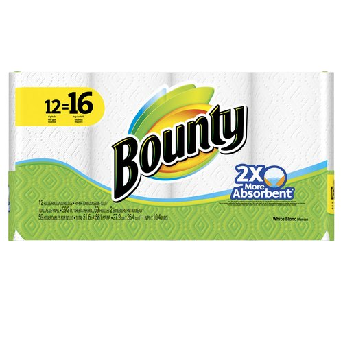 Bounty Paper Towels, White, 12 Big Rolls