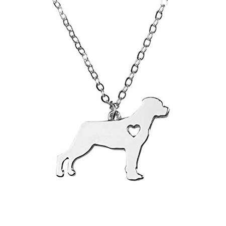 Art Attack Silvertone I Love My Dog Lover Heart Outline Rottweiler Pet Puppy Rescue Pendant Necklace