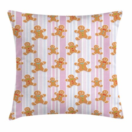 - Gingerbread Man Throw Pillow Cushion Cover, Kids Pattern with Pastel Colored Striped Backdrop Cute Bakery Xmas Goodies, Decorative Square Accent Pillow Case, 18 X 18 Inches, Multicolor, by Ambesonne