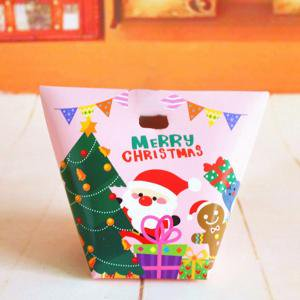 Fancyleo 2 Pcs Christmas Candy Treat Boxes with Ribbons Xmas Cookie Boxes Gift Boxes with Christmas Elements Patterns for Christmas Party Favors (Christmas Treats For School)