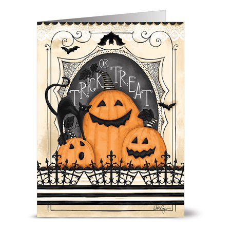 24 Halloween Note Cards - Trick or Treat Jack-O-Lanterns - Blank Cards - Tangerine Zest Envelopes Included