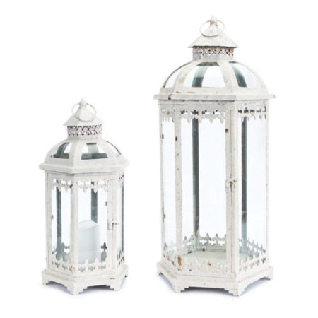 Set of 2 Fleur de Lis Weathered White Metal and Glass Pillar Candle Holder Lanterns 24.5