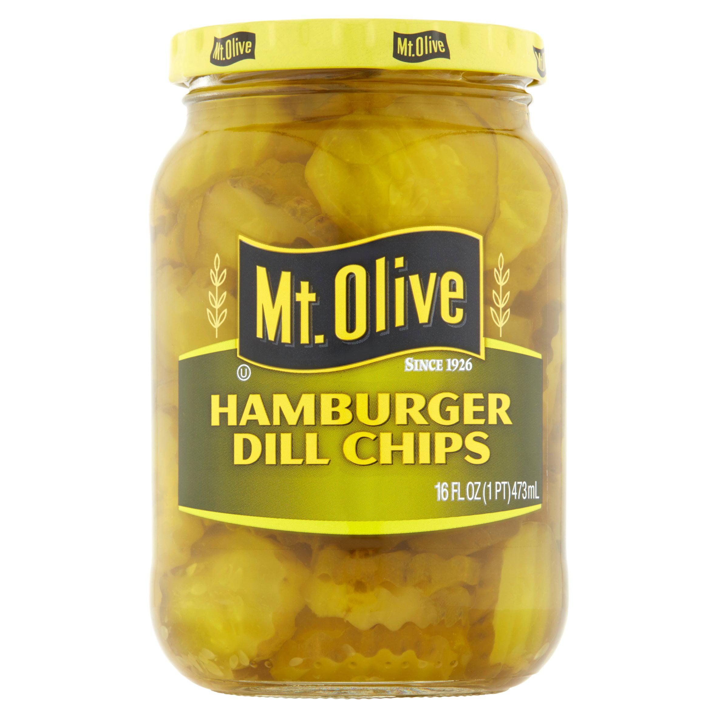 Mt. Olive Hamburger Dill Chips Pickles 16 fl. oz. Jar by Corner of Cucumber and Vine