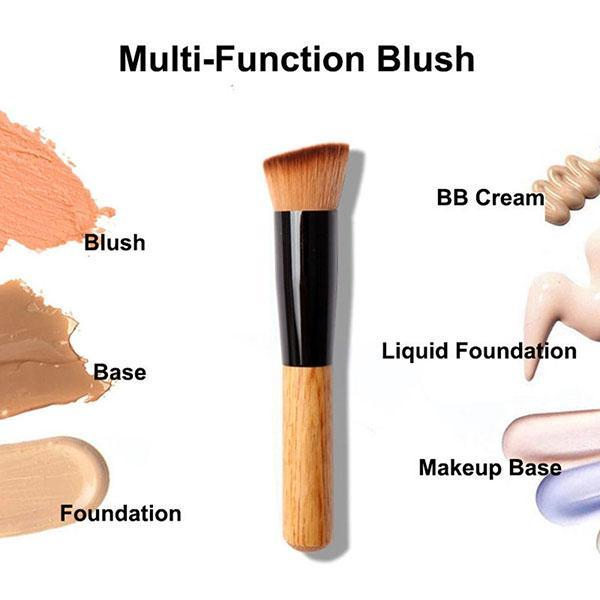 Big Clearance Wooden Liquid Foundation Powder Makeup Brush Flat Angled Head