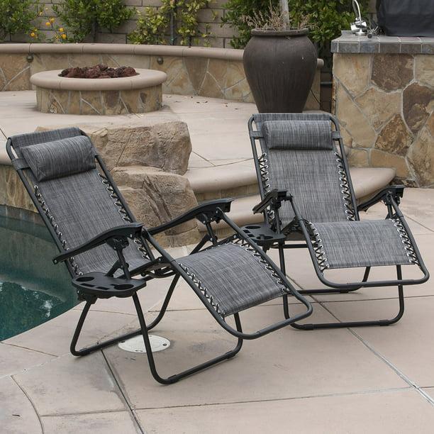 Belleze 2 Pack Zero Gravity Chairs Patio Lounge Cup Holder Utility Tray Gray Walmart Com Walmart Com