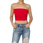 TheMogan Junior's Strapless Elastic Straight Neckline Fitted Rib Crop Tube Top