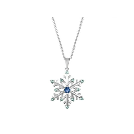 Citrine Accents (Sterling Silver-Plated Simulated Blue Topaz with CZ Accents Snowflake Pendant, 18)