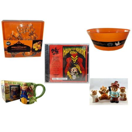 Halloween Fun Gift Bundle [5 Piece] - Wilton Autumn 8-Piece Cookie Cutter Set - 17.75 Inch Orange