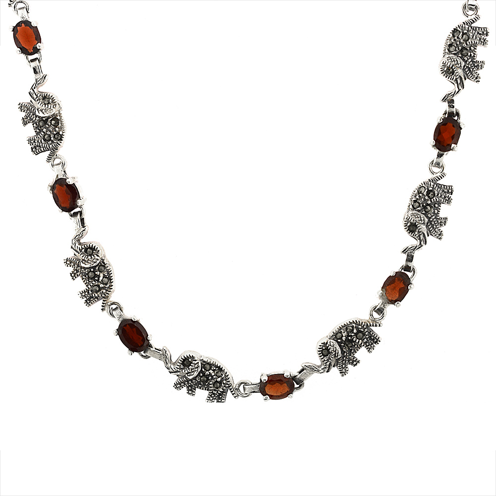 Sterling Silver Cubic Zirconia Garnet Elephant Marcasite Necklace, 16 inch long by WorldJewels