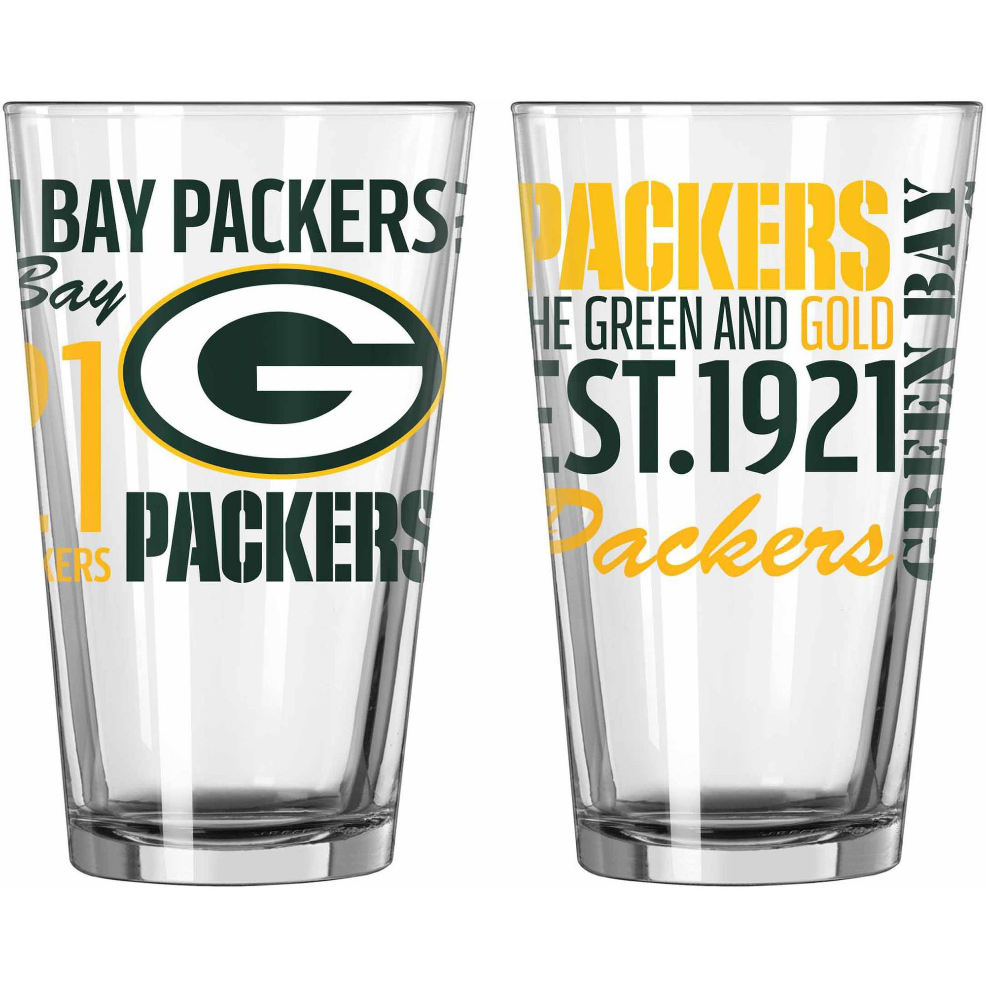 Boelter Brands NFL Set of Two 16 Ounce Spirit Pint Glass Set, Green Bay Packers by Boelter Brands