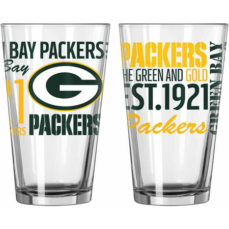 Boelter Brands NFL Set of Two 16 Ounce Spirit Pint Glass Set, Green Bay Packers