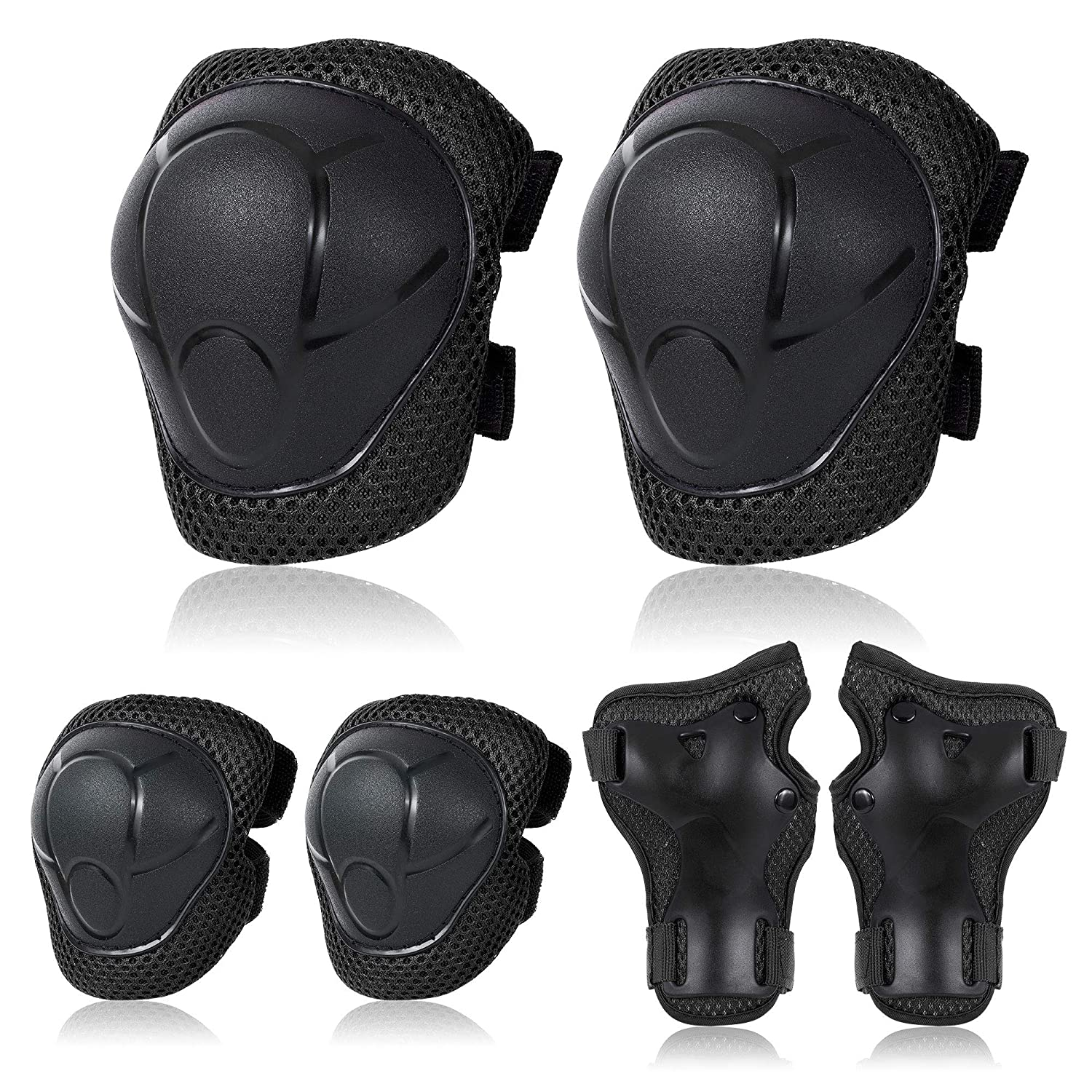 6Pcs Elbow Wrist Knee Pads Guards For Kids Girls Boys Skating Safety Gear Set