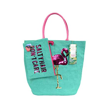 Olive & Hill Jute Tote Bag and Matching Carry-All Clutch Set Aqua Flamingo](Flamingo Tote Bag)