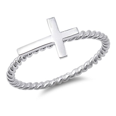 High Polish Sideways Cross Fashion Ring New .925 Sterling Silver Band Size 10