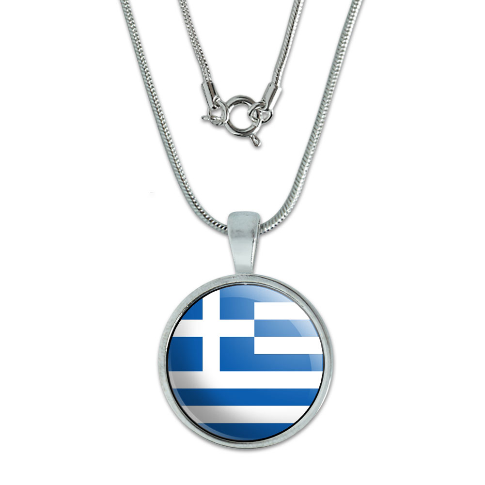 Greece Greek Flag Small Pendant by Graphics and More