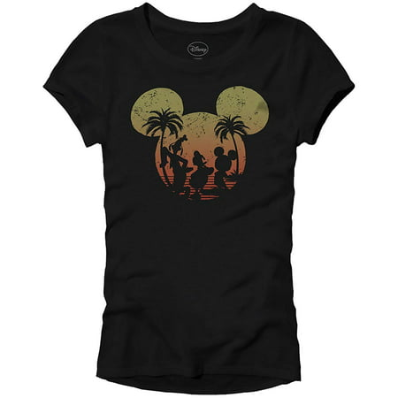 Disney Mickey Mouse Sunset Silhouette Disneyland World Tee Funny Humor Women's Juniors Slim Fit Graphic T-Shirt Apparel Black](Disney Jr Halloween Cartoons)