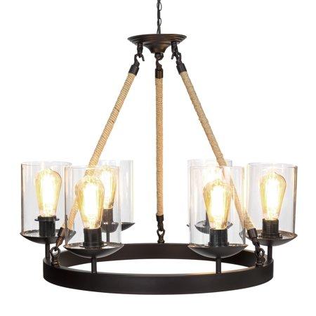 Best Choice Products Living/Dining Room Modern Rustic Rope Design 6-Light Chandelier Pendant Lighting (Lindsey 6 Light Pendant)