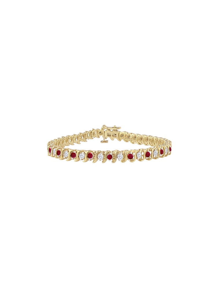 Ruby and Cubic Zirconia Tennis Bracelet in Yellow Gold by Love Bright