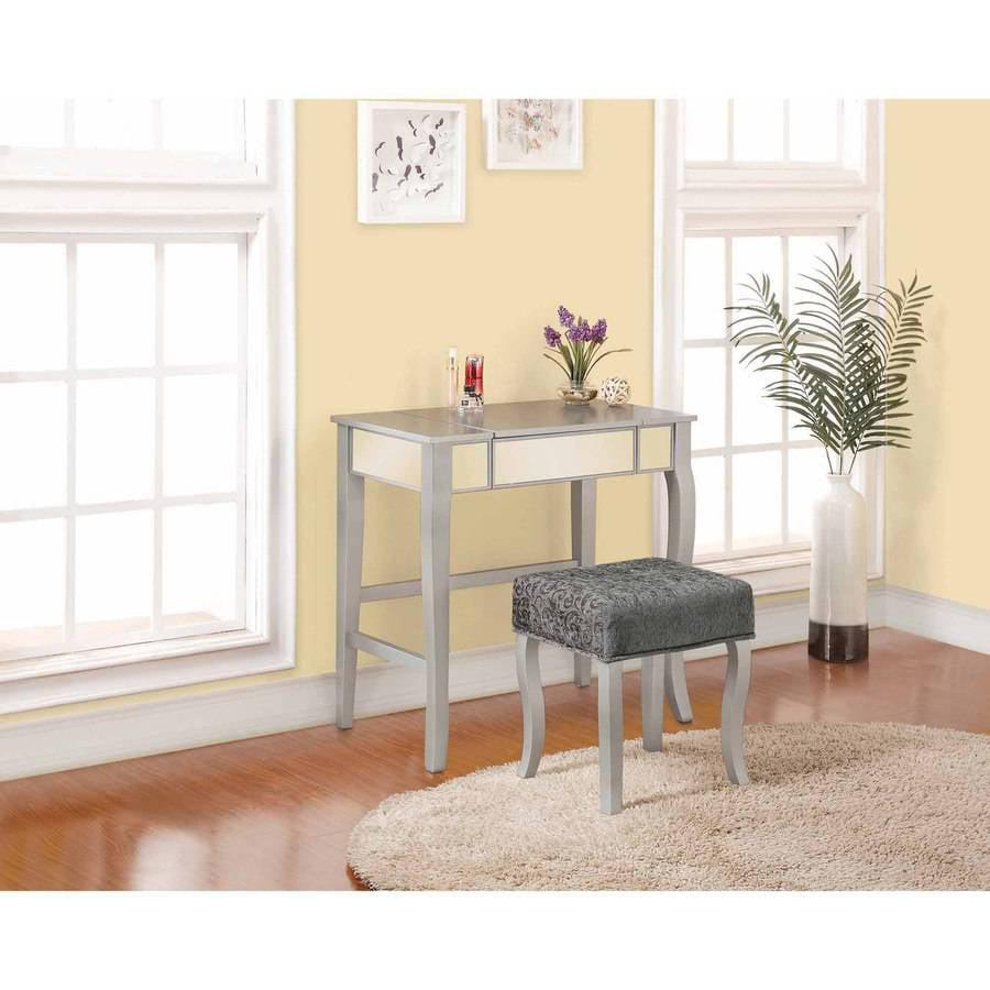 Mirrored Vanity Table Set Console Desk Stool Modern Makeup Dressing Bedroom  Gray