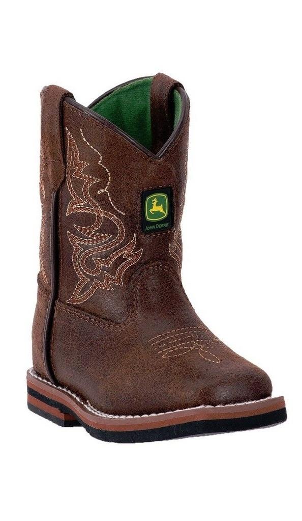 John Deere Western Boots Boys Kids Broad Toe Leather Rust JD1024 by John Deere