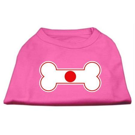 Bone Shaped Japan Flag Screen Print Shirts Bright Pink L - (Weird Shaped Flags)