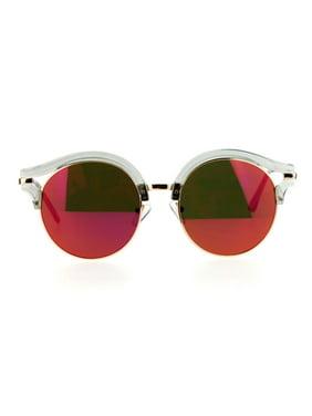 Product Image SA106 Retro Mirrored Lens Round Circle Half Rim Womens  Sunglasses Peach e9adc5e64