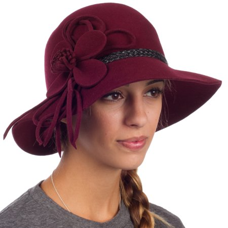 Red Velvet Wool Hat (Sakkas Gloria Vintage Style Wool Cloche Hat - Burgundy - One)