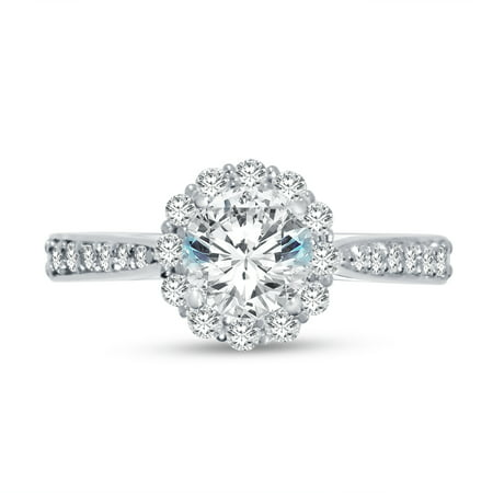 14k White Gold Round Floating Halo Tapered Flower Head Solitaire Engagement Ring CZ Cubic Zirconia (1.50cttw., 1.0ct. Center) , Size 7