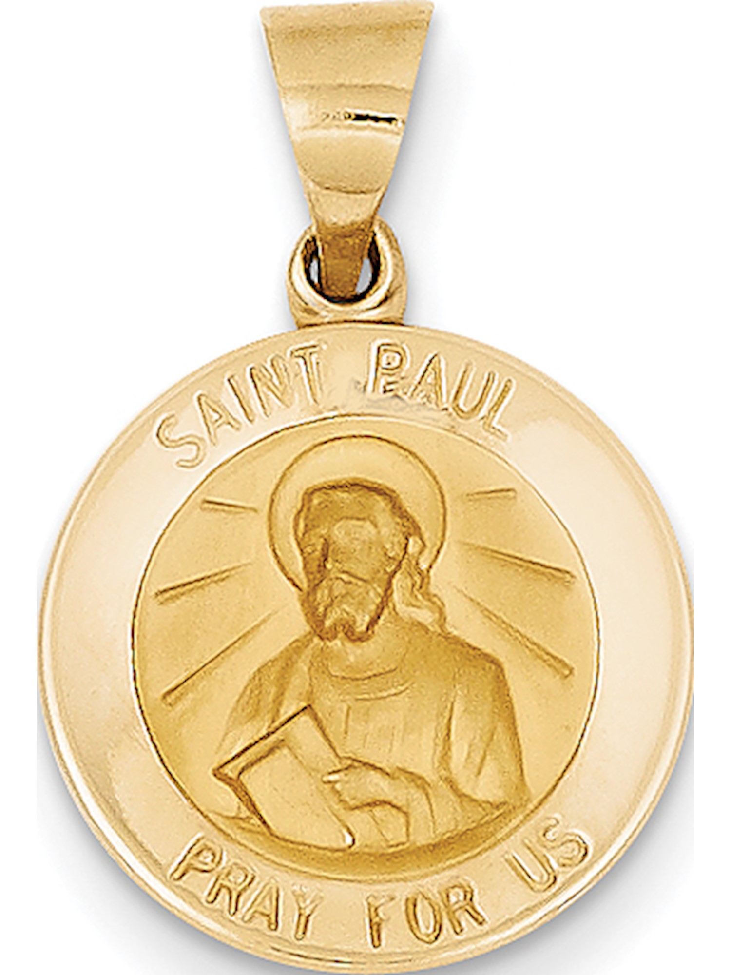 14k Yellow Gold Polished and Satin St. Paul Medal (15x18mm) Pendant / Charm