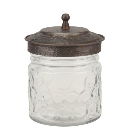 Stonebriar Collection Clear Round Pressed Glass Container with Pewter Lid
