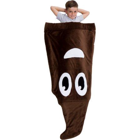 Silver Lilly NEW Novelty Plush Emoji Fleece Sleeping Bag Throw Blanket for Kids - Bags For Kids
