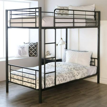 Zimtown Twin over Twin Steel Bunk Beds Frame Ladder Bedroom Dorm for Kids Adult Children