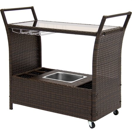 Best Choice Products Rolling Outdoor Wicker Bar Cart with Removable Ice Bucket, Glass Countertop, Wine Glass Holders, and Storage Compartments,