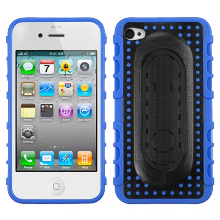For iPhone 4s/4 Blue Massage Dots Snap Tail Stand Protector - Message Stand