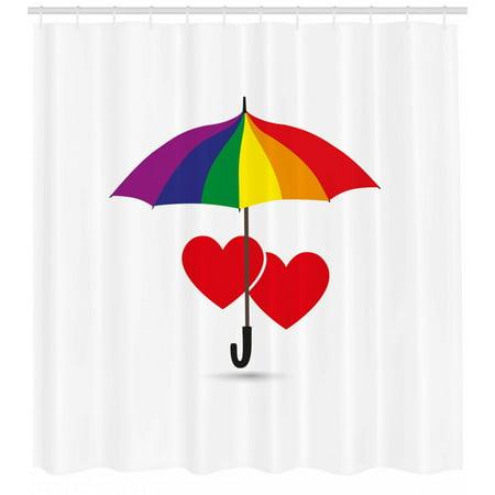 Pride Shower Curtain, Cute Heart Signs Over Rainbow Umbrella Romantic LGBT Love Valentine