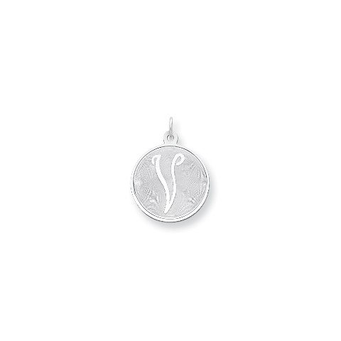 Letter M Pendant Medal Initial Charm Brocaded Lower Case Sterling Silver