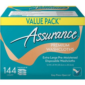 Assurance Premium Extra-Large Disposable Washcloths, XL, 144 Ct